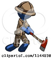 Blue Explorer Ranger Man Striking With A Red Firefighters Ax