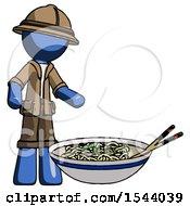 Blue Explorer Ranger Man And Noodle Bowl Giant Soup Restaraunt Concept