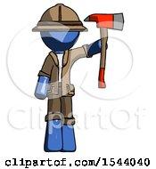 Blue Explorer Ranger Man Holding Up Red Firefighters Ax