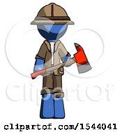 Blue Explorer Ranger Man Holding Red Fire Fighters Ax