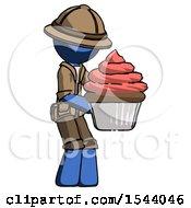 Blue Explorer Ranger Man Holding Large Cupcake Ready To Eat Or Serve