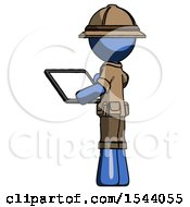 Blue Explorer Ranger Man Looking At Tablet Device Computer With Back To Viewer