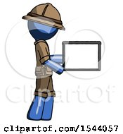 Blue Explorer Ranger Man Show Tablet Device Computer To Viewer Blank Area