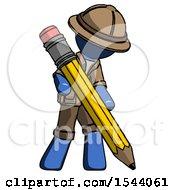 Blue Explorer Ranger Man Writing With Large Pencil