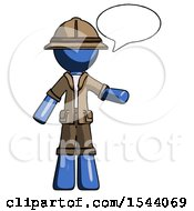 Blue Explorer Ranger Man With Word Bubble Talking Chat Icon