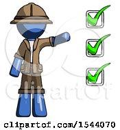 Blue Explorer Ranger Man Standing By List Of Checkmarks