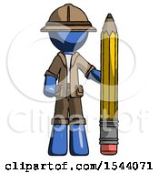 Blue Explorer Ranger Man With Large Pencil Standing Ready To Write