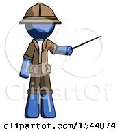 Blue Explorer Ranger Man Teacher Or Conductor With Stick Or Baton Directing