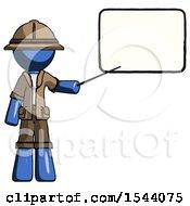Blue Explorer Ranger Man Giving Presentation In Front Of Dry Erase Board