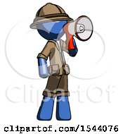 Blue Explorer Ranger Man Shouting Into Megaphone Bullhorn Facing Right