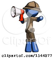 Blue Explorer Ranger Man Shouting Into Megaphone Bullhorn Facing Left