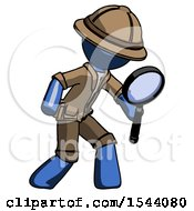 Blue Explorer Ranger Man Inspecting With Large Magnifying Glass Right