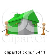 Two Environmentally Concerned Orange People Using Roller Brushes To Paint A Home Green Symbolizing Upgrading A Home To Be More Energy Efficient