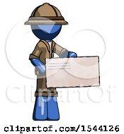 Blue Explorer Ranger Man Presenting Large Envelope