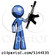Blue Design Mascot Man Holding Automatic Gun