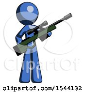 Blue Design Mascot Man Holding Sniper Rifle Gun