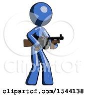 Blue Design Mascot Woman Tommy Gun Gangster Shooting Pose