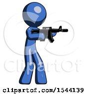 Blue Design Mascot Man Shooting Automatic Assault Weapon