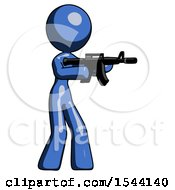 Blue Design Mascot Woman Shooting Automatic Assault Weapon