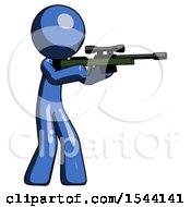 Blue Design Mascot Man Shooting Sniper Rifle