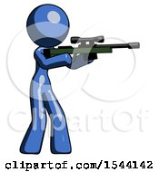 Blue Design Mascot Woman Shooting Sniper Rifle