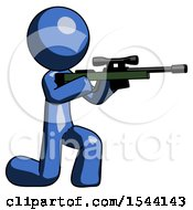 Blue Design Mascot Man Kneeling Shooting Sniper Rifle