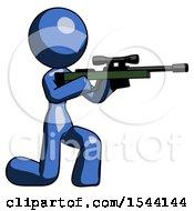Blue Design Mascot Woman Kneeling Shooting Sniper Rifle