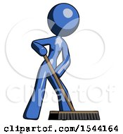 Blue Design Mascot Woman Cleaning Services Janitor Sweeping Floor With Push Broom