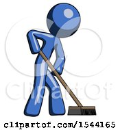 Blue Design Mascot Man Cleaning Services Janitor Sweeping Side View