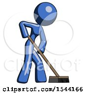 Blue Design Mascot Woman Cleaning Services Janitor Sweeping Side View