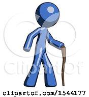 Blue Design Mascot Man Walking With Hiking Stick