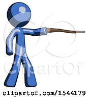 Blue Design Mascot Man Pointing With Hiking Stick