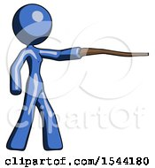 Blue Design Mascot Woman Pointing With Hiking Stick