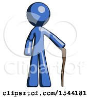 Blue Design Mascot Man Standing With Hiking Stick