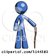 Blue Design Mascot Woman Standing With Hiking Stick