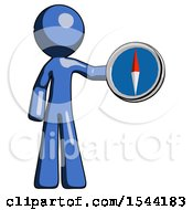 Blue Design Mascot Man Holding A Large Compass