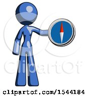 Blue Design Mascot Woman Holding A Large Compass