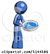 Blue Design Mascot Woman Looking At Large Compass Facing Right