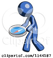 Blue Design Mascot Man Walking With Large Compass