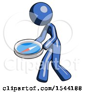 Blue Design Mascot Woman Walking With Large Compass