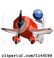 Blue Design Mascot Woman Flying In Geebee Stunt Plane Viewed From Below
