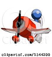 Blue Design Mascot Man Flying In Geebee Stunt Plane Viewed From Below