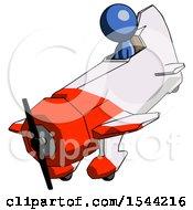 Blue Design Mascot Man In Geebee Stunt Plane Descending View