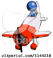 Blue Design Mascot Man In Geebee Stunt Plane Descending Front Angle View