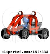 Blue Design Mascot Man Riding Sports Buggy Side Angle View