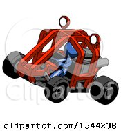 Blue Design Mascot Woman Riding Sports Buggy Side Top Angle View
