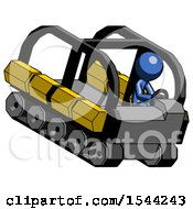 Blue Design Mascot Man Driving Amphibious Tracked Vehicle Top Angle View