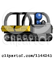 Blue Design Mascot Man Driving Amphibious Tracked Vehicle Side Angle View