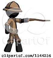 Black Explorer Ranger Man Pointing With Hiking Stick