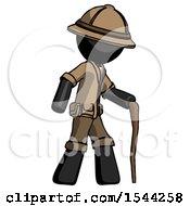 Black Explorer Ranger Man Walking With Hiking Stick